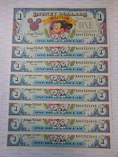 1993 Disney Dollar $1 A Series 8 CONSECUTIVE BILLS Mickey Mouse 65th Anniversary