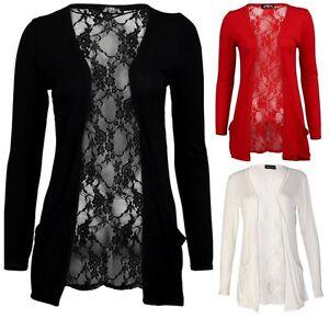 Womens Ladies Floral Lace Long Sleeve Boyfriend Cardigan Sizes 8-14