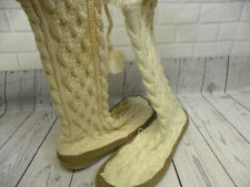 J Crew Women's Medium Wool Cable Knit Slipper Sock Boots Size 7 Cream White