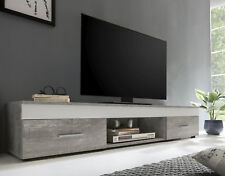 Wilmes: Lowboard Fernsehkommode Fernsehtisch TV-Kommode Fernsehboard  Beton/Weiß