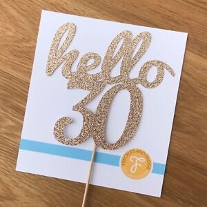 Hello 30 Cake Topper ROSE GOLD Glitter Card 30th Birthday Thirty 30