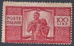 1945-48 ITALIA DEMOCRATICA 100 LIRE MNH ** DIFETTOSO PIEGA DI GOMMA - RR11400