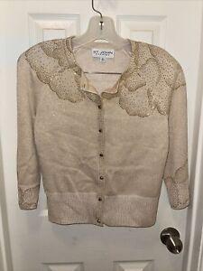 St. John Evening Neiman Marcus Beige Gold Cardigan Sweater Size 4