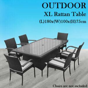 Outdoor Rattan Wicker Furniture Patio Garden Dining Table Desk 180x100x75cm AU