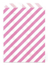 25 Pcs Pink Diagonal Stripes 5x7 Print Paper Gift Bags Favor Candy Shop