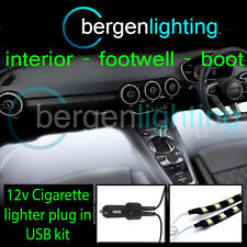 2x 1000mm USB blanco 12v Mechero Interior Kit 12v SMD5050 DRL Iluminación STRIP