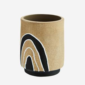 Beige Black White Terracotta Artificial or Dried Flower Vase, Retro Geometric