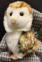 "Aurora Realistic Barn Owl 10"" Stuffed Animal Plush Brown Gray Soft"