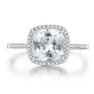 Sterling Silver Cushion 8x8mm White Topaz 3.0ct Gemstone Diamonds Jewelry Ring