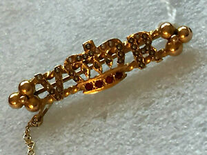 Exquisite 15ct GOLD Ruby/Pearl/Diamond Victorian  V R BROOCH, just georgous