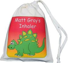 Personalised Dinosaur Asthma Inhaler & Small Spacer bag 14x20cm drawstring EMPTY