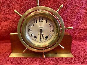 "1940-50s Seth Thomas ""Mayflower-3"" Brass Ships Bell Clock"