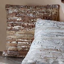 BOHO SOHO Weaved Genuine Leather Throw Cushions Gold/Silver/ Brown/Blue Grey