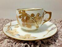 Antique AK Klingenberg Limoges Demitasse Teacup & Saucer Gold 1880s Frence