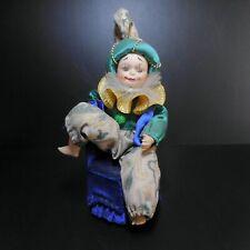 Figurine personnage Pierrot poupée porcelaine boite musicale fait main XXe N6132