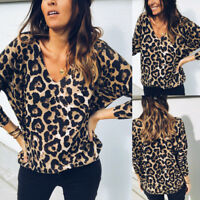 Women Leopard Print Top Long Sleeve V-Neck Autumn Cotton Casual T-Shirt Blouse