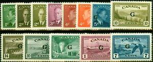Canada 1950 Set of 13 SG0178-0190 Very Fine MNH