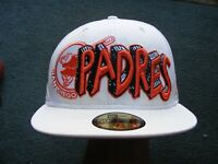 Rare Design NEW ERA Cap Hat - 59Fifty San Diego Padres Baseball Size 7 5/8 White
