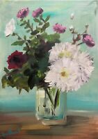 Print Original oil painting art vase flowers impressionism shabby chic country