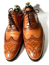 $3500 Kiton Light-Brown Perforation Leather Lace-Up Shoes Size 42, UK-8, US-9