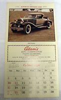 VINTAGE 1976 CALENDAR PAGE ALBUM OF ANTIQUE CARS 1929 STUDEBAKER PRINT