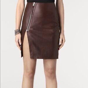 "ALLSAINTS⚡️{$360} ""Lucille"" oxblood wine lamb leather diagonal zip skirt size 6"