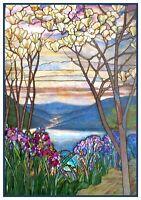 Magnolia Trees Iris Flowers Louis Comfort Tiffany Counted Cross Stitch Pattern