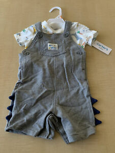 NWT Carters 2 Piece Set SS Overalls I'm A Really Big Deal Baby Size 12m BB2