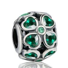 Silver Bead Green Heart Flowers Crystals Fit 925 Sterling Charm Bracelets Chain