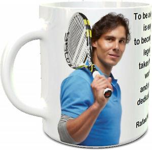 Rafael Nadal ceramic mug world number 1 and Nadal quote on the 11oz ceramic mug