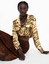 Zara Camel/black Animal Print Flowing Shirt Blouse Size S