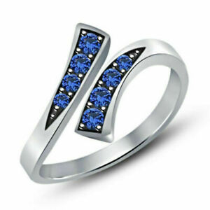 14k White Gold Over 0.20 Ct Round Cut Blue Sapphire Bypass Adjustable Toe Ring