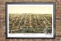 Vintage Alexandria, VA Map 1863 - Historic Virginia Art Old Victorian Industrial