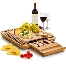 Bamboo Cheese Board w/ Cutlery Set Wood Platter and Serving Board Sliding Drawer