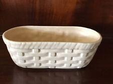 "Vintage McCoy Floraline Pottery Oblong Basket Weave Planter  Ivory # 585 9""X 4"""