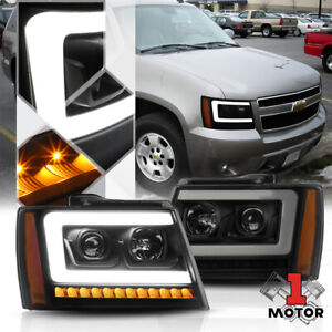 Blk/Smoke/Amber Projector Headlight[LED BAR+SEQUENTIAL SIGNAL]for 07-14 Suburban