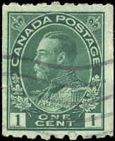 1913 Used Canada 1c F+ Scott #123 King George V Coil Admiral Stamp