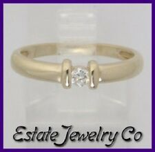 Solitaire Right Hand/Promise Ring .09ct 10k Yellow Gold Round Diamond