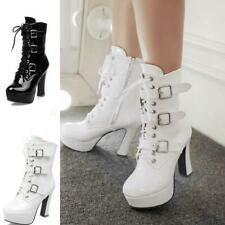 Women's Mid Calf High Top Knight Boots Patent Leather Block Heel Platform Shoes