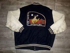 Vintage GUESS Georges Marciano Leather Varsity Letterman Jacket Big Logo Medium