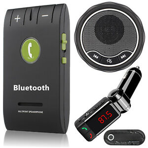 Wireless Bluetooth Hands Free Speakerphone Car Kit Sun Visor Clip Receiver FM