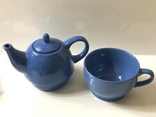 Tea for One  Blue Teapot & Cup  Ceramic New Without Box