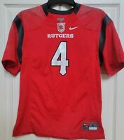 Rutgers Scarlet Knights #4 Red Nike Football Jersey Replica Shirt Youth L Large
