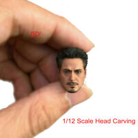 """1/12 Tony Stark Head Sculpt Carved Model Iron Man Figure Toy for 6"""" Action Body"""