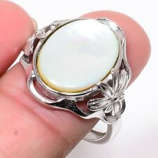 Silver Jewelry Ring s.Ad R481-18 Mother Of Pearl 925 Sterling