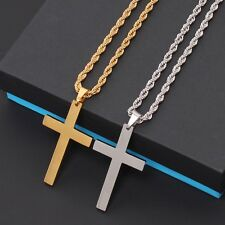 Women Mens Stainless Steel Cross Gold Silver Necklace Crucifix Rolo Rope Chains