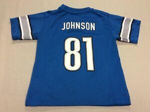DETROIT LIONS CALVIN JOHNSON BLUE NIKE FOOTBALL JERSEY TODDLER'S KIDS SIZE 7T