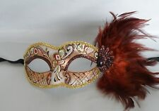 Mardi Gras Brown Feather Masquerade Mask NEW - Express Post Option Available