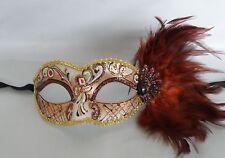Mardi Gras Venetian  Brown Feather Masquerade Party Mask *NEW*