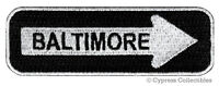 BALTIMORE ONE-WAY SIGN EMBROIDERED IRON-ON PATCH applique MARYLAND SOUVENIR ROAD